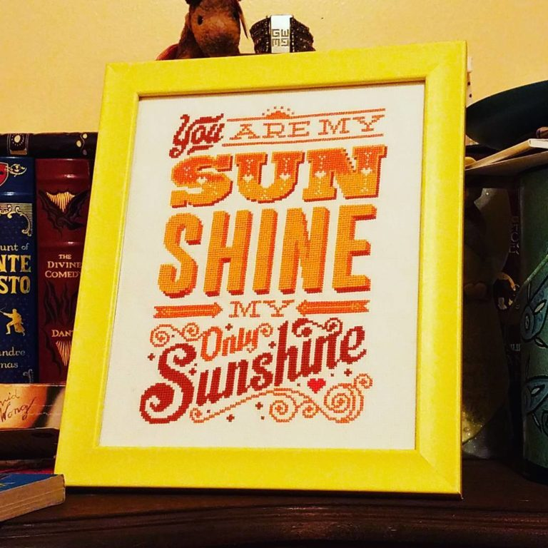 You Are My Sunshine framed cross stitch