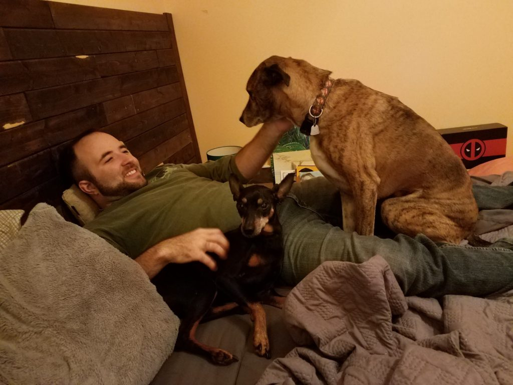 M with the dogs