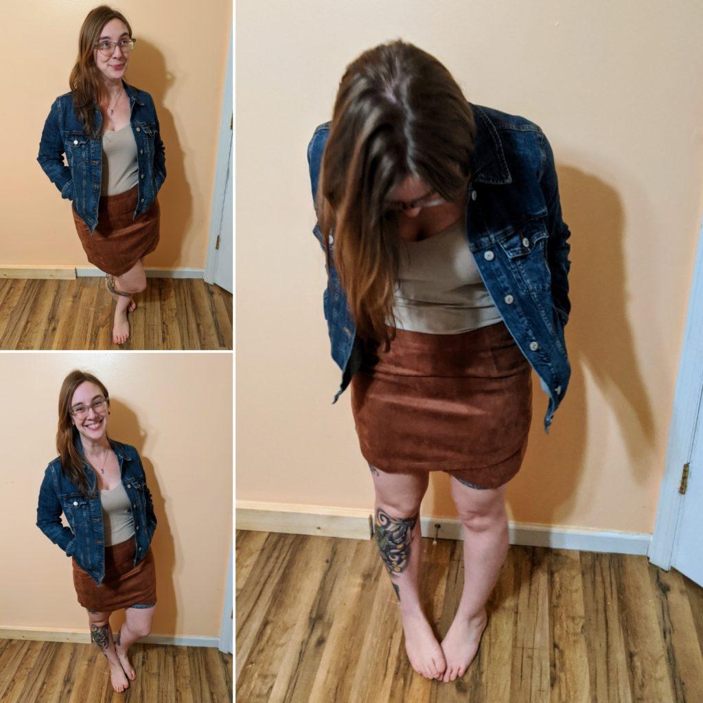 Jack Women's Flip & Rewind Scuba Faux Suede Skirt