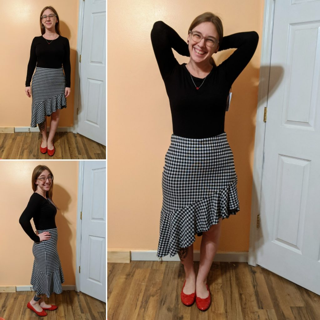 Long-Sleeve Crew Neck, Gingham Ruffle Skirt, & Ballet Flat