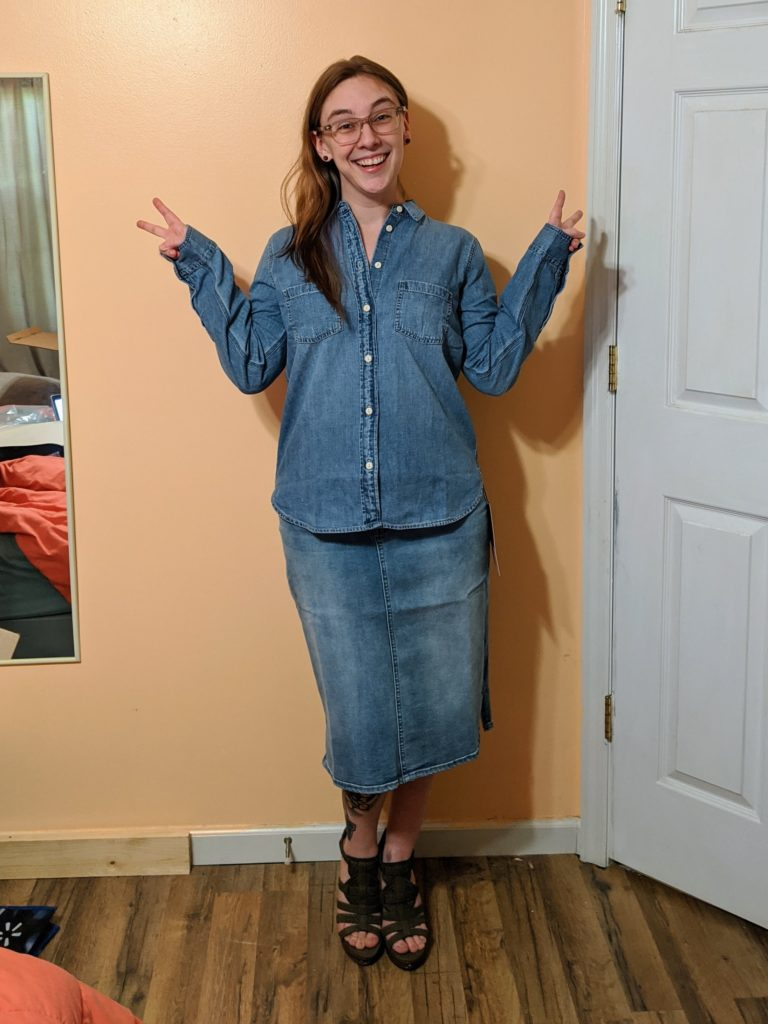 chambray top & denim skirt
