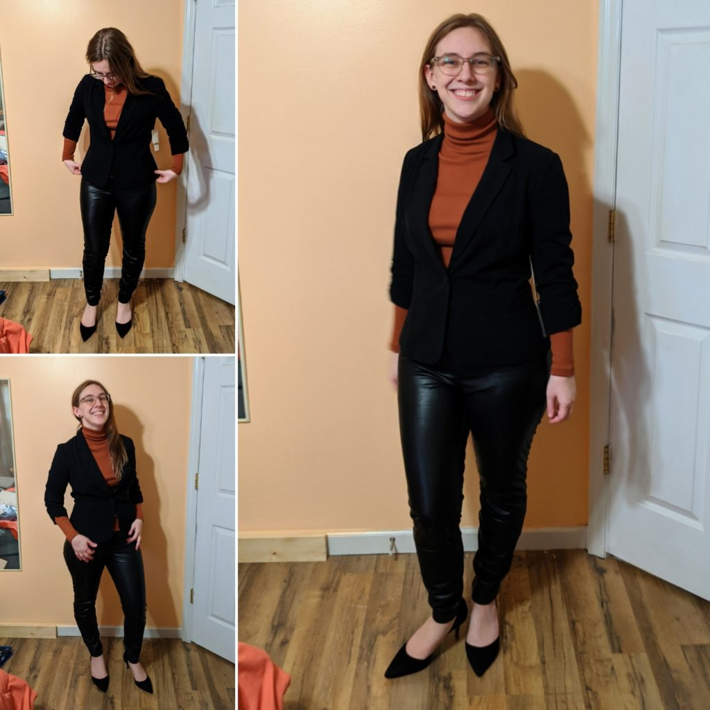 blazer, turtleneck, & heels
