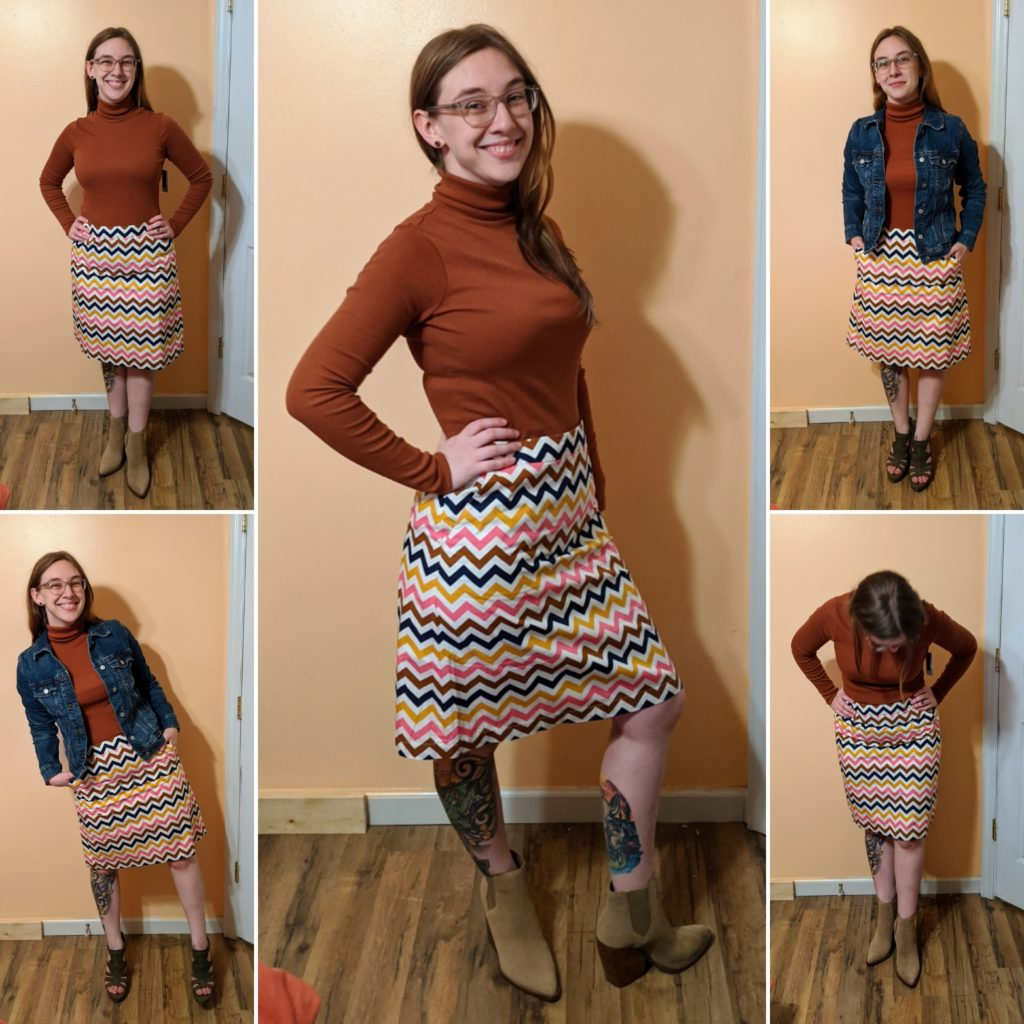 turtleneck, a-line skirt, & boots