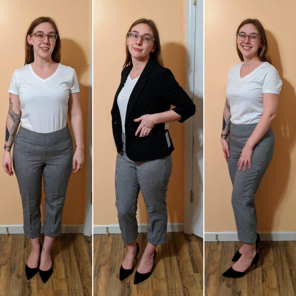 gingham pants, heels, & blazer