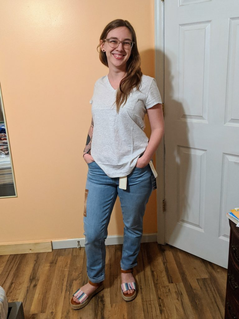 t-shirt, jeans, and sandals