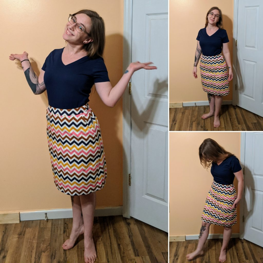 navy t-shirt & skirt