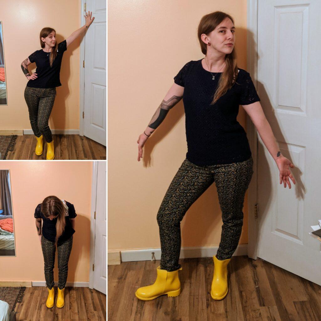 crochet top & jeans w/ rain boots