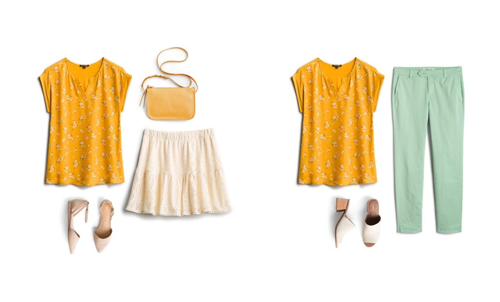 yellow top outfit suggestions from the stylist